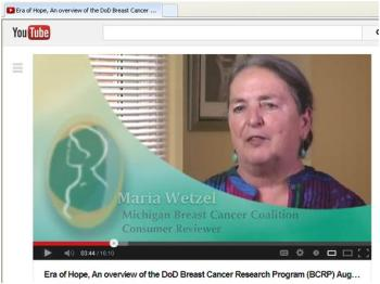 "Maria Wetzel, DoD Breast Cancer Research Program's ""Era of Hope"" conference"