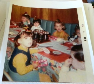 Celebrating my 4th birthday with my first cousin (the cutie with the blond hair) and friends